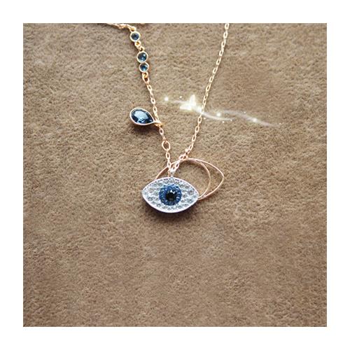 Swarovski/施华洛世奇 蓝黑水晶恶魔之眼玫瑰金项链 5172560