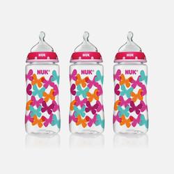 美国直邮NUK时尚宽口径奶瓶女孩用 防胀气矫正龋齿 300ml 3个装 清仓产品 数量有限 (包装略有瑕疵 )